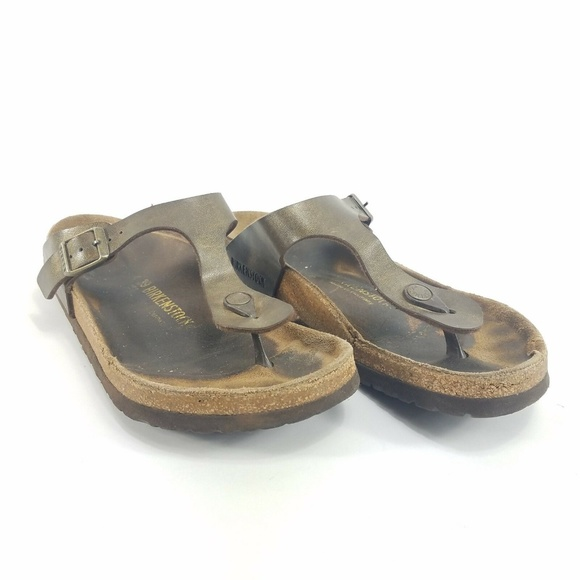 Birkenstock Gizeh Thong Sandals Copper Birko Flor